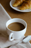 Coffee and Croissant for Breakfast. Cup of Coffee and Croissant are easy meal for breakfast time Royalty Free Stock Images