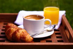 Coffee and croissant breakfast Royalty Free Stock Images