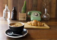 Coffee Croissant Breakfast Refreshment Concept Royalty Free Stock Photos