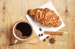 Coffee and croissant with cheese Stock Image