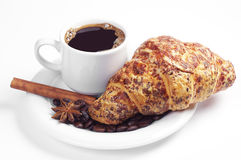 Coffee and croissant with cheese Stock Photos