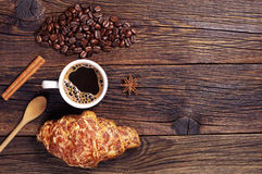 Coffee and croissant with cheese Royalty Free Stock Photos