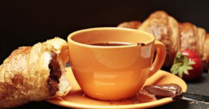 Coffee, Croissant, Coffee Cup Royalty Free Stock Images