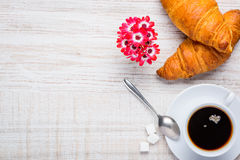 Coffee and Croissant with Copy Space Stock Photos