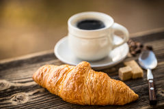 Coffee and croissant Royalty Free Stock Images