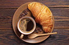 Coffee with croissant Stock Image