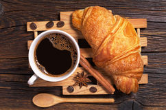 Coffee with croissant Stock Images