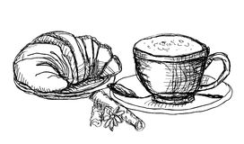 Coffee and croissant. Hande drawn coffee and croissant stock illustration
