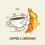 Coffee and croissant, love forever. Comic, cartoon. Vector illus. Tration stock illustration