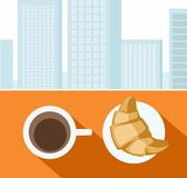 Coffee, croissant, morning, Breakfast, city, colour illustrations. Royalty Free Stock Photography
