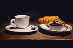Coffee with croissant and muffin. Sweet breakfast, coffee with desert Royalty Free Stock Image