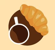 Coffee and croissant royalty free illustration