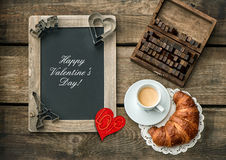 Coffee with croissant. Red heart decoration. Valentines Day Stock Photos