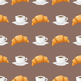 Coffee and croissant seamless pattern brown caffeine breakfast morning sweet drink vector illustration Stock Photo