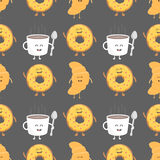 Coffee and croissant seamless pattern. Template for kids menu restaurant. Vector illustration Stock Images