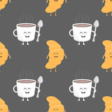 Coffee and croissant seamless pattern. Template for kids menu restaurant. Vector illustration Stock Photo