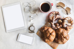 Coffee and croissant served Stock Image