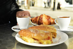 Coffee, croissant and spanish omelette sandwich Royalty Free Stock Photography