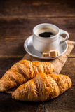 Coffee and croissant. Time for breakfast Stock Image