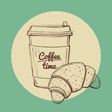 Coffee and croissant vector illustration Stock Photography