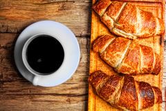 Coffee and croissant Stock Image