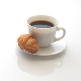 Coffee and croissants. Reflection from below Stock Photography