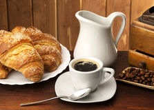 Coffee with croissants Royalty Free Stock Photos