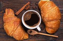Coffee and croissants Royalty Free Stock Photography