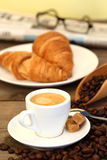 Coffee and croissants Stock Image