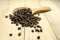 Coffee crop beans on  spoon Royalty Free Stock Photography