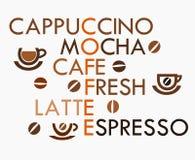 Coffee crossword. Creative coffee design - crossword. Vector illustration Stock Photography