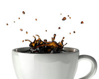 Coffee crown splash in mug. Close up view. Stock Images