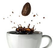 Coffee crown splash in mug. Close up view. Stock Photos