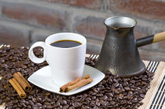 Coffee Cup. Coffee with Withe Cup with Vanilla Pod royalty free stock photo