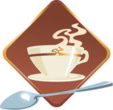 Coffee cup. With  aroma steam on a brown button. Vector illustration Stock Image