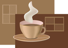 Coffee cup. With steam on simple brown background with stylized chocolate bars Stock Photography