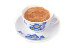 Coffee cup. A cup of coffee with foam, isolated on white background stock photos