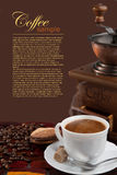 Coffee cup. There are coffee beans, a cup of coffee and coffee grinder. The image has a selection outline Royalty Free Stock Image