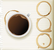 Coffee cup. And stains - top view stock illustration