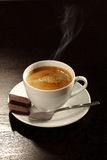 Coffee cup. With little spoon and chocolate Stock Photography