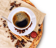 Coffee cup. With cinnamon and chocolate Royalty Free Stock Photos