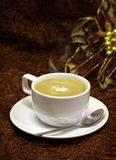 Coffee cup. On brown background royalty free stock photos