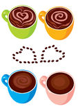Coffee cup. Vector illustration a set of cups of different colour with a hot drink of coffee with cream, coffee grains laid out in the form of heart Stock Image