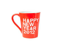 Coffee cup. New year coffee cup on white Stock Image