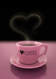 Coffee cup. Rendering of a coffee cup with an heart shape smoke Royalty Free Stock Photo