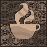 Coffee cup. Stylized coffee cup on a beautiful pattern Stock Photo