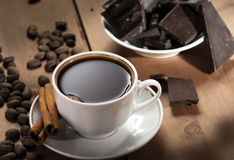 Coffee cup. With chocolate and cinnamon royalty free stock image