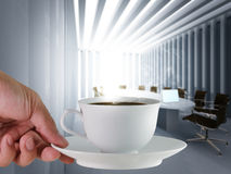 Coffee cup. And board room Stock Images
