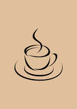 Coffee cup. Stylized coffee cup with hot coffee, black on beige background Stock Photos