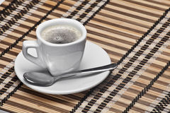 Coffee cup. Over a tablecloth Stock Photography